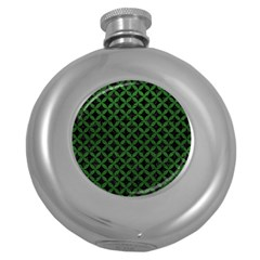 Circles3 Black Marble & Green Leather Round Hip Flask (5 Oz) by trendistuff