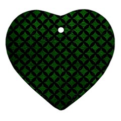 Circles3 Black Marble & Green Leather (r) Heart Ornament (two Sides) by trendistuff
