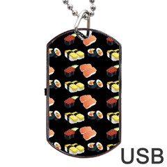 Sushi Pattern Dog Tag Usb Flash (two Sides) by Valentinaart