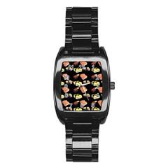 Sushi Pattern Stainless Steel Barrel Watch by Valentinaart