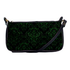 Damask1 Black Marble & Green Leather Shoulder Clutch Bags by trendistuff