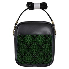 Damask1 Black Marble & Green Leather Girls Sling Bags by trendistuff