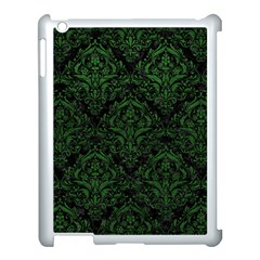Damask1 Black Marble & Green Leather Apple Ipad 3/4 Case (white) by trendistuff
