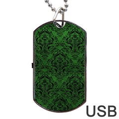 Damask1 Black Marble & Green Leather (r) Dog Tag Usb Flash (two Sides) by trendistuff