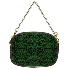 Damask2 Black Marble & Green Leather Chain Purses (two Sides)  by trendistuff