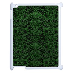 Damask2 Black Marble & Green Leather Apple Ipad 2 Case (white) by trendistuff