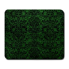 Damask2 Black Marble & Green Leather (r) Large Mousepads by trendistuff