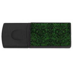 Damask2 Black Marble & Green Leather (r) Rectangular Usb Flash Drive