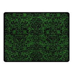 Damask2 Black Marble & Green Leather (r) Double Sided Fleece Blanket (small)  by trendistuff