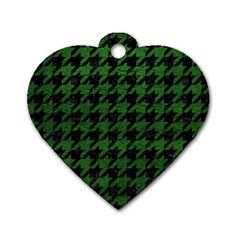 Houndstooth1 Black Marble & Green Leather Dog Tag Heart (one Side) by trendistuff