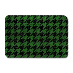 Houndstooth1 Black Marble & Green Leather Plate Mats by trendistuff