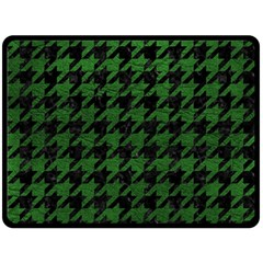 Houndstooth1 Black Marble & Green Leather Double Sided Fleece Blanket (large)  by trendistuff