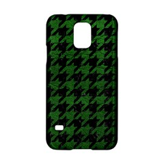 Houndstooth1 Black Marble & Green Leather Samsung Galaxy S5 Hardshell Case  by trendistuff
