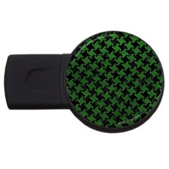 Houndstooth2 Black Marble & Green Leather Usb Flash Drive Round (2 Gb) by trendistuff