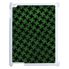 Houndstooth2 Black Marble & Green Leather Apple Ipad 2 Case (white) by trendistuff