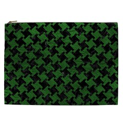 Houndstooth2 Black Marble & Green Leather Cosmetic Bag (xxl)  by trendistuff