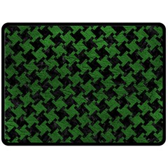 Houndstooth2 Black Marble & Green Leather Double Sided Fleece Blanket (large)  by trendistuff