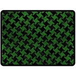 HOUNDSTOOTH2 BLACK MARBLE & GREEN LEATHER Double Sided Fleece Blanket (Large)  80 x60 Blanket Front