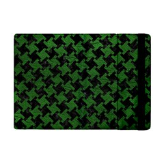 Houndstooth2 Black Marble & Green Leather Ipad Mini 2 Flip Cases by trendistuff