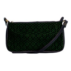 Hexagon1 Black Marble & Green Leather Shoulder Clutch Bags by trendistuff