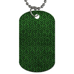 Hexagon1 Black Marble & Green Leather (r) Dog Tag (one Side) by trendistuff