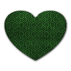 Hexagon1 Black Marble & Green Leather (r) Heart Mousepads by trendistuff