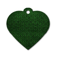 Hexagon1 Black Marble & Green Leather (r) Dog Tag Heart (one Side) by trendistuff