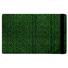 Hexagon1 Black Marble & Green Leather (r) Apple Ipad 2 Flip Case by trendistuff