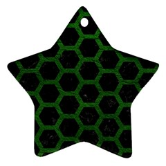 Hexagon2 Black Marble & Green Leather Star Ornament (two Sides) by trendistuff