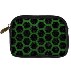 Hexagon2 Black Marble & Green Leather Digital Camera Cases by trendistuff