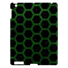 Hexagon2 Black Marble & Green Leather Apple Ipad 3/4 Hardshell Case by trendistuff