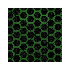 Hexagon2 Black Marble & Green Leather Acrylic Tangram Puzzle (6  X 6 ) by trendistuff