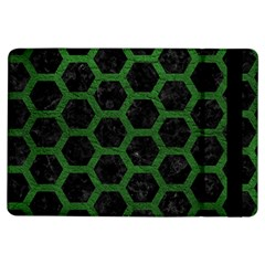 Hexagon2 Black Marble & Green Leather Ipad Air Flip by trendistuff