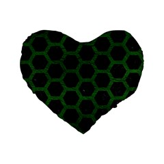 Hexagon2 Black Marble & Green Leather Standard 16  Premium Flano Heart Shape Cushions by trendistuff