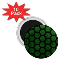 Hexagon2 Black Marble & Green Leather (r) 1 75  Magnets (10 Pack)  by trendistuff