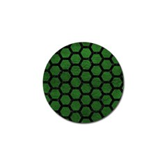 Hexagon2 Black Marble & Green Leather (r) Golf Ball Marker by trendistuff