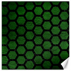 Hexagon2 Black Marble & Green Leather (r) Canvas 20  X 20   by trendistuff