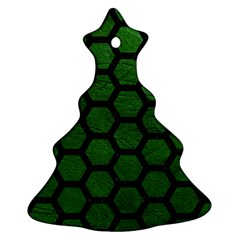 Hexagon2 Black Marble & Green Leather (r) Christmas Tree Ornament (two Sides)