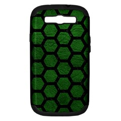 Hexagon2 Black Marble & Green Leather (r) Samsung Galaxy S Iii Hardshell Case (pc+silicone) by trendistuff