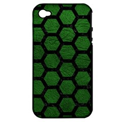 Hexagon2 Black Marble & Green Leather (r) Apple Iphone 4/4s Hardshell Case (pc+silicone) by trendistuff