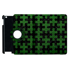 Puzzle1 Black Marble & Green Leather Apple Ipad 3/4 Flip 360 Case by trendistuff