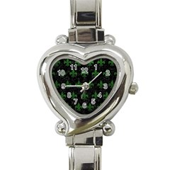 Royal1 Black Marble & Green Leather (r) Heart Italian Charm Watch by trendistuff