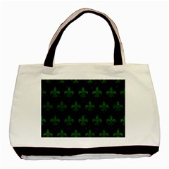 Royal1 Black Marble & Green Leather (r) Basic Tote Bag by trendistuff