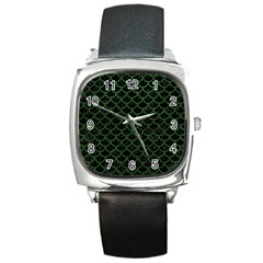 Scales1 Black Marble & Green Leather Square Metal Watch by trendistuff
