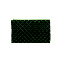 Scales1 Black Marble & Green Leather Cosmetic Bag (xs) by trendistuff