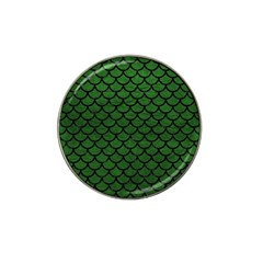 Scales1 Black Marble & Green Leather (r) Hat Clip Ball Marker by trendistuff