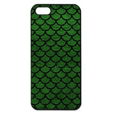 Scales1 Black Marble & Green Leather (r) Apple Iphone 5 Seamless Case (black) by trendistuff