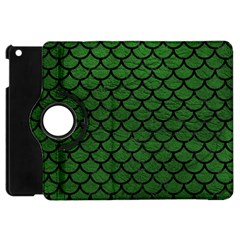 Scales1 Black Marble & Green Leather (r) Apple Ipad Mini Flip 360 Case by trendistuff