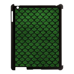 Scales1 Black Marble & Green Leather (r) Apple Ipad 3/4 Case (black) by trendistuff
