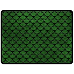 Scales1 Black Marble & Green Leather (r) Double Sided Fleece Blanket (large)  by trendistuff